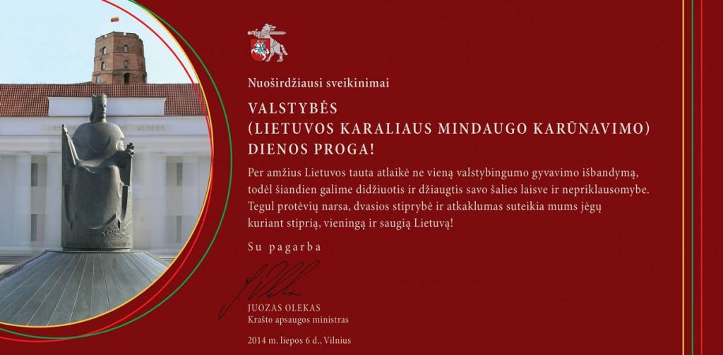 ministro sveikinimas Liepos 6 d. proga